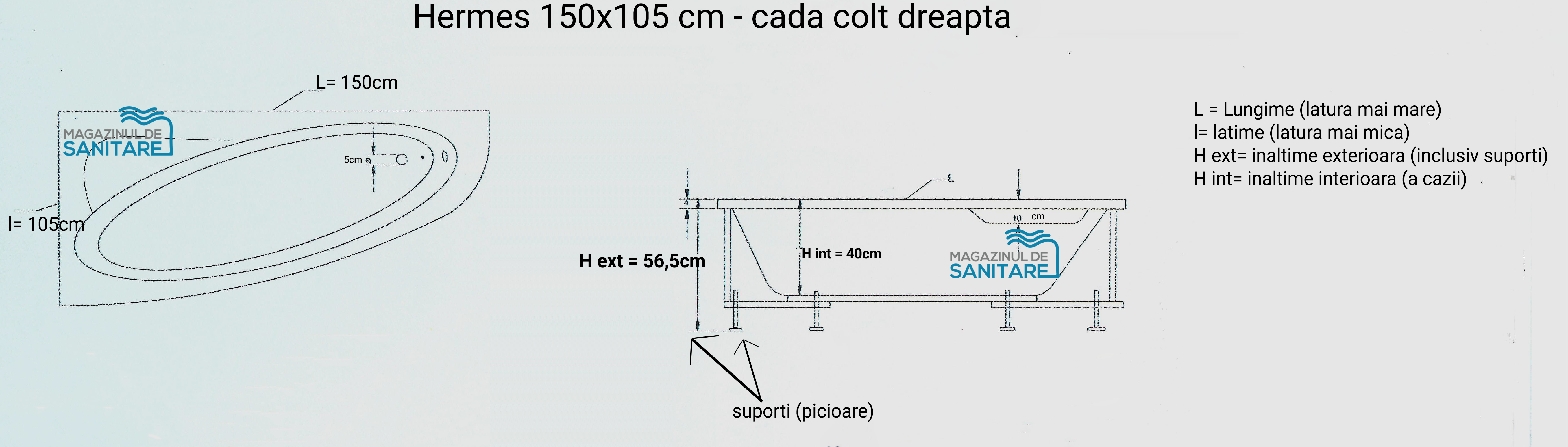 schita tehnica cada 150 105 cm HERMES