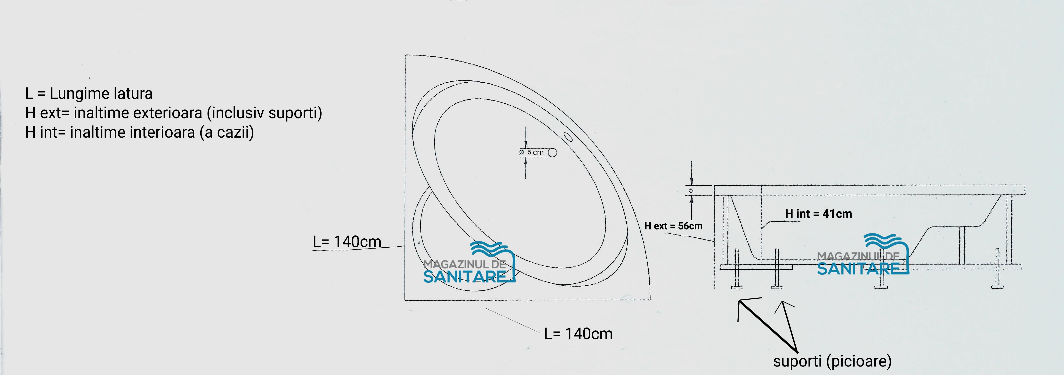 schita tehnica cada 140 140 cm OPAL