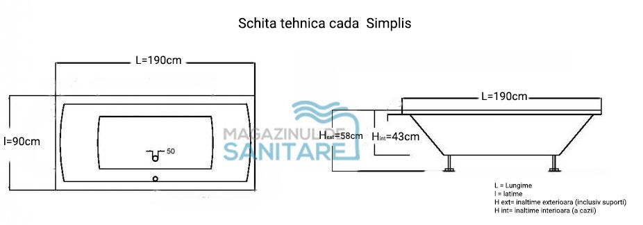 schita tehnica cada 180 80 cm SIMPLIS