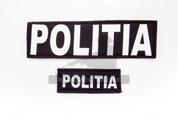 Inscriptie POLITIA (fata + spate) cu scai, pentru vesta multifunctionala 0
