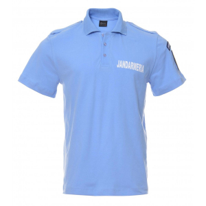 Tricou polo bleu cu emblema0