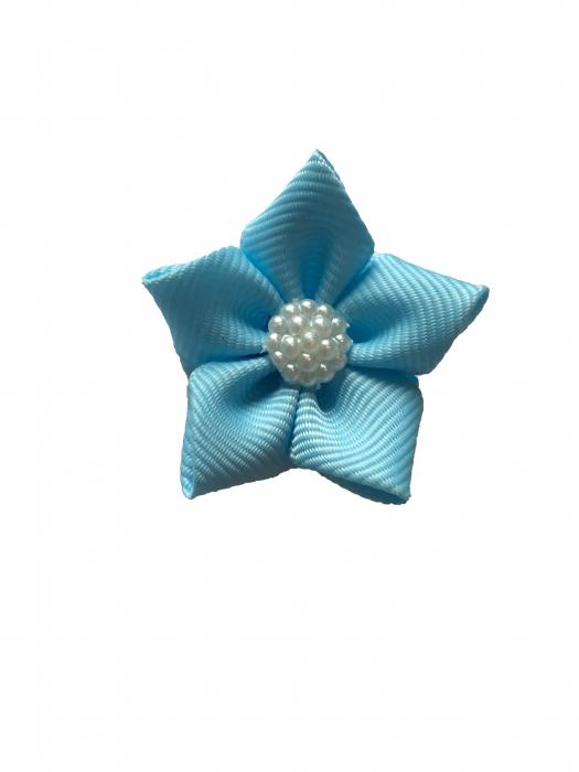 Floare saten mat, raiat - 4 cm (albastru deschis) 0