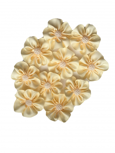 Floare saten mat, raiat - 4 cm (ivory) 1