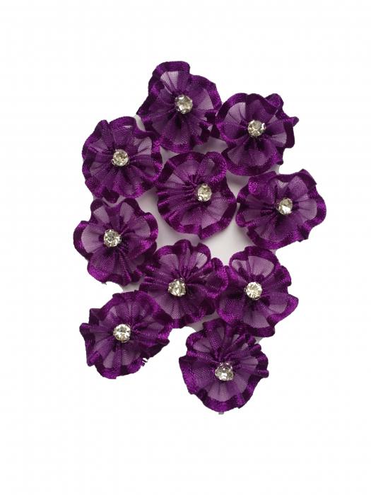 Floare organza mov-inchis 2 cm 1