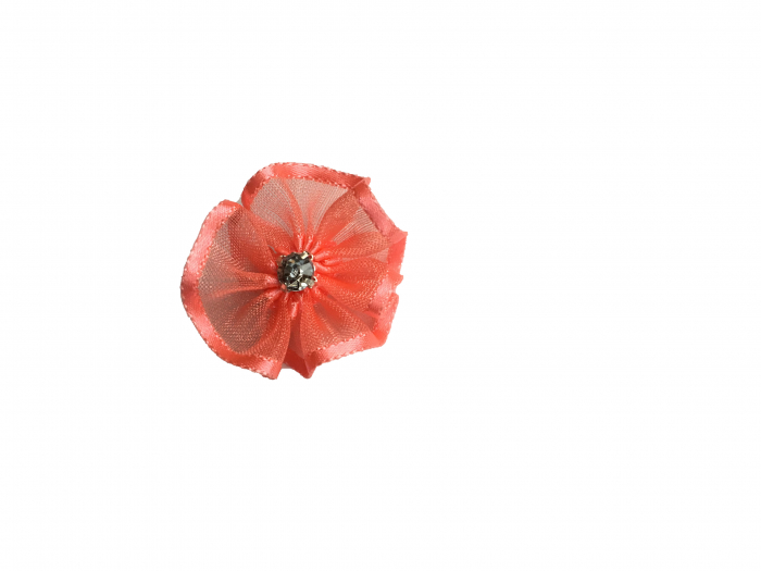 Floare organza 3 cm - coral