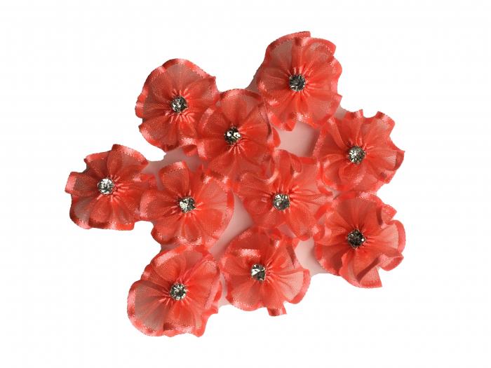 Floare organza 3 cm - coral 1