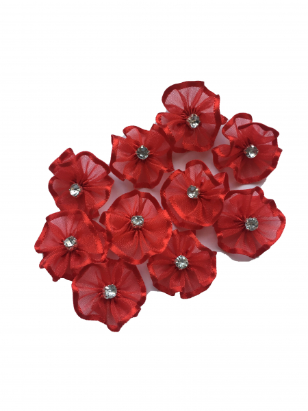 Floare organza 2 cm - rosu 1