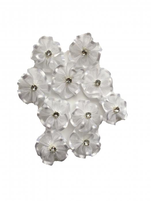 Floare organza 2 cm - alba 1