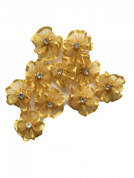 Floare organza 2 cm crem-auriu 1