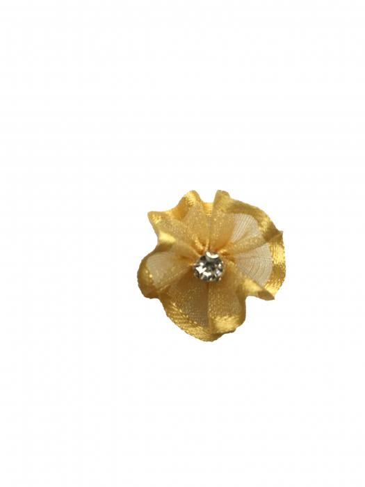 Floare organza 2 cm crem-auriu 0