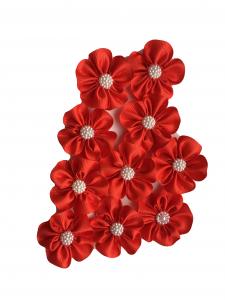 Floare mica saten mat, raiat - 4m cm (rosu)