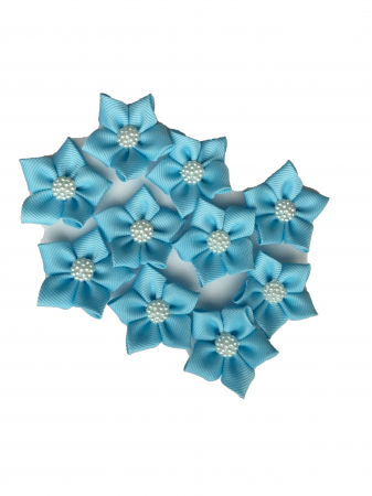 Floare saten mat, raiat - 4 cm (albastru deschis)1