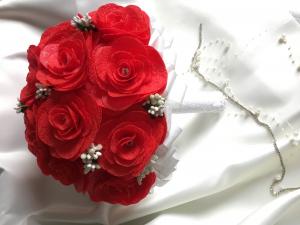 Buchet mireasa handmade rosu - trandafiri0