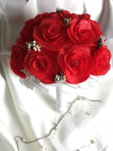 Buchet mireasa handmade rosu - trandafiri1