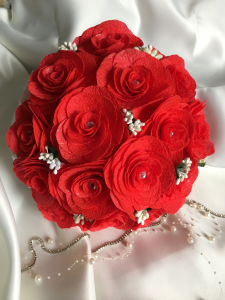Buchet mireasa handmade rosu - trandafiri