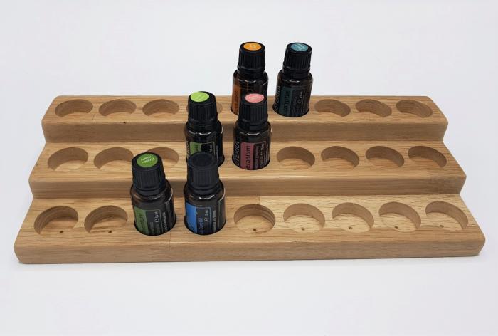 Suport din lemn de stejar pentru sticlute de ulei esential 15 ml [4]