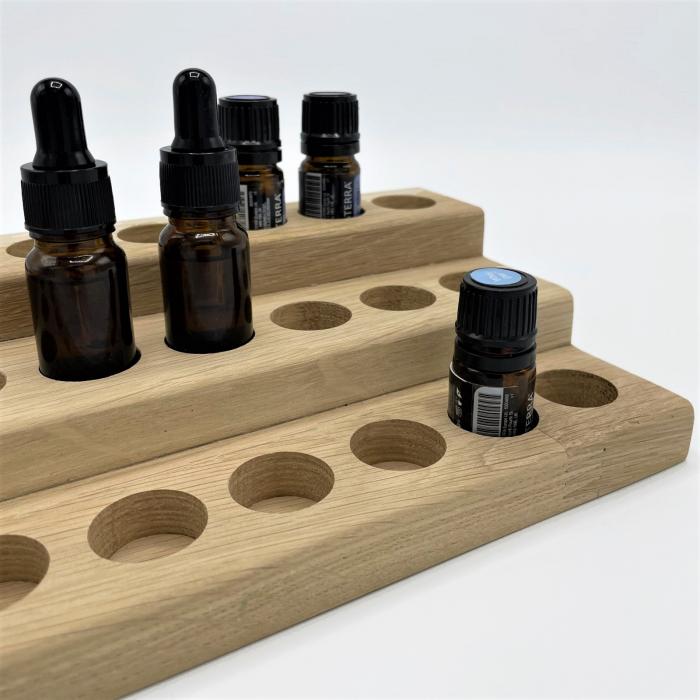 Suport din lemn de stejar pentru sticlute de ulei esential 5/10 ml [3]
