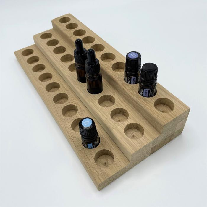 Suport din lemn de stejar pentru sticlute de ulei esential 5/10 ml [1]