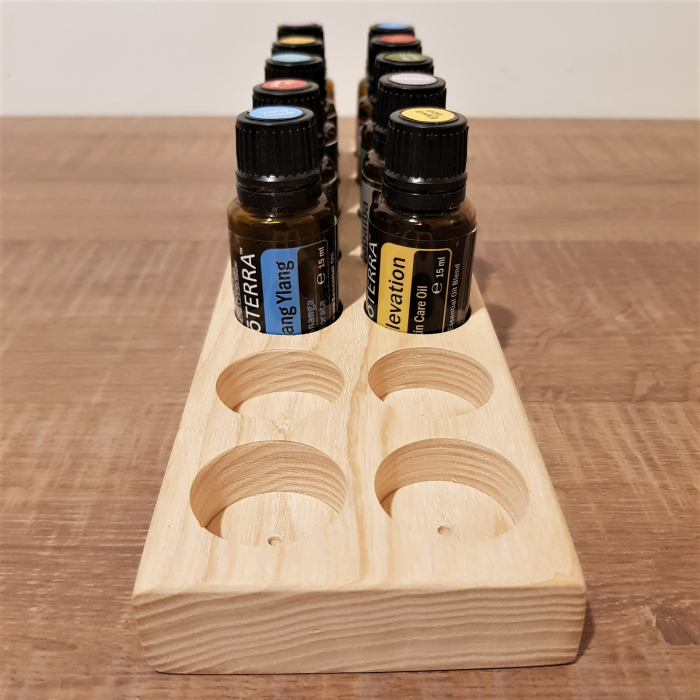 Suport din lemn de frasin pentru 14 sticlute de ulei esential 15 ml [5]