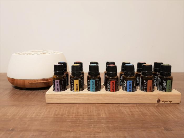 Suport din lemn de frasin pentru 14 sticlute de ulei esential 15 ml [0]