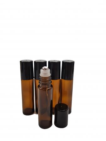 Set 5 recipiente roll-on sticla bruna, 10 ml [0]