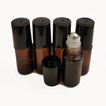Set 5 recipiente roll-on sticla bruna, 5 ml [0]