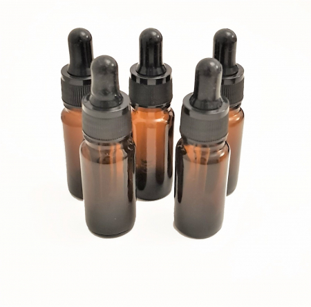 Set 5 recipiente din sticla bruna cu pipeta, 10 ml [0]