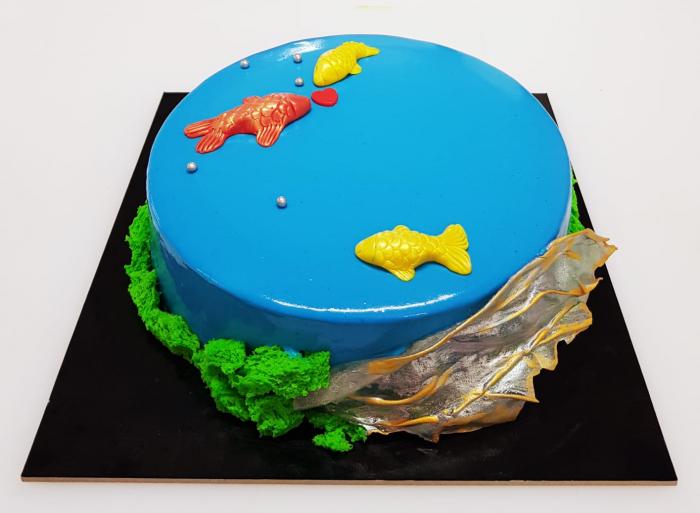Tort Blue Lagoon - panna cotta si bavarois cu ciocolata alba 0