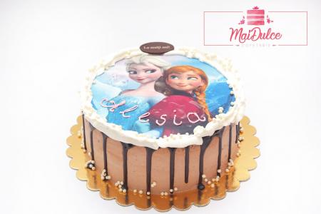 Tort pentru copii - imagine FROZEN - ciocolata si fructe de padure1