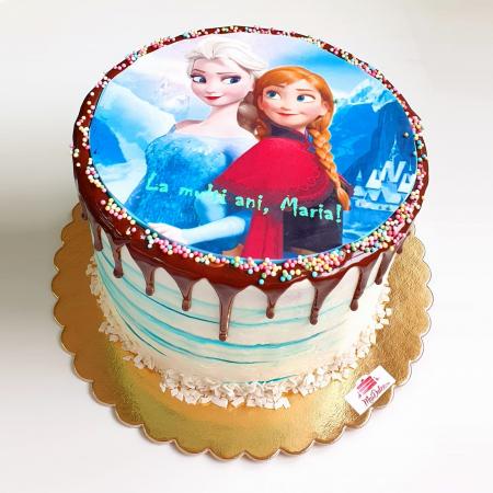 Tort pentru copii - imagine FROZEN - ciocolata si fructe de padure3