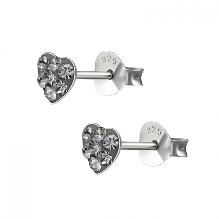 CERCEI ARGINT BLACK DIAMONDS HEART 1