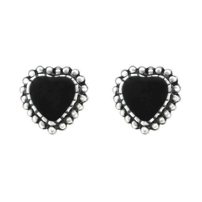 CERCEI ARGINT BLACK HEARTS 0