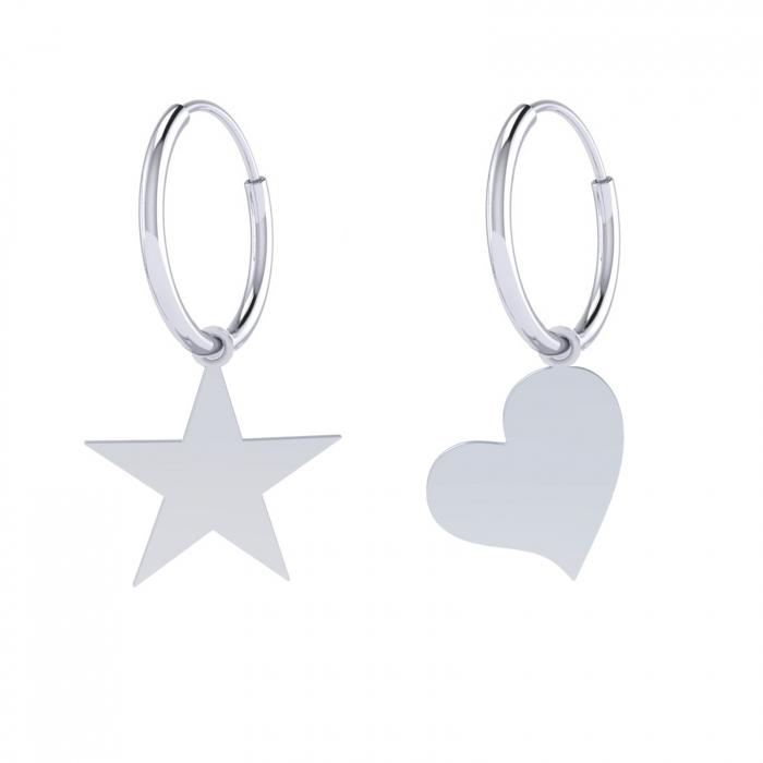 CERCEI HOOP HEART& STAR ARGINT 0