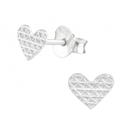 CERCEI ARGINT LITTLE DIAMONDS HEARTS - FOR HER2