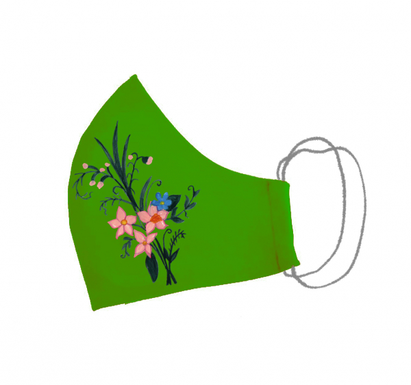 Masca bumbac pictata manual verde [0]