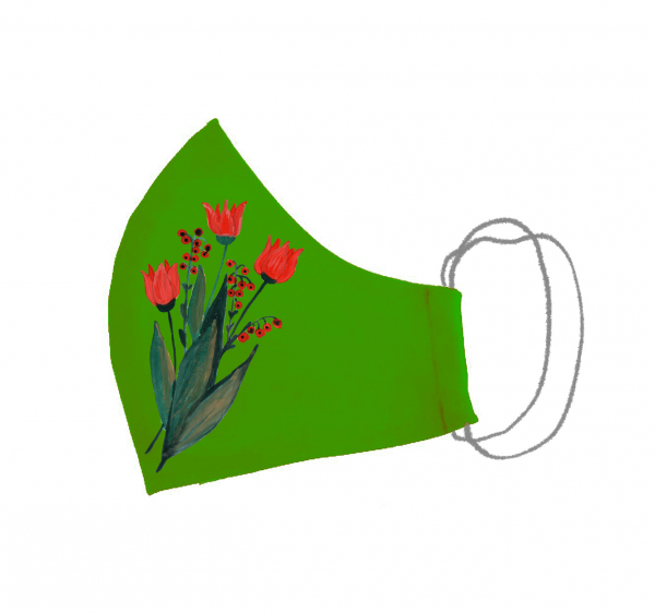 Masca bumbac pictata manual verde [3]