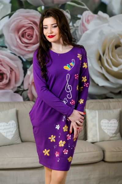 Rochie din bumbac pictata manual Onelya [4]