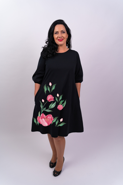 Rochie din bumbac pictata manual Ony [0]