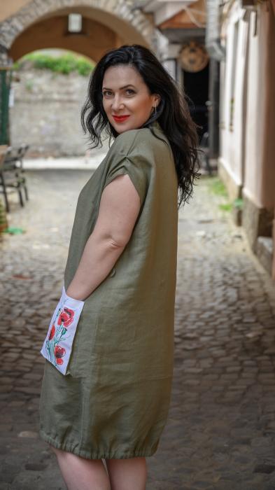 Rochie din in pictata manual Coca [2]
