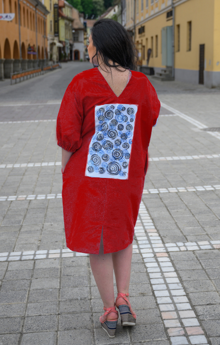 Rochie din in pictata manual Cezara [4]