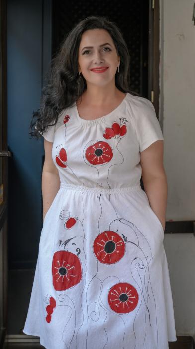 Rochie din in pictata manual Erika [0]