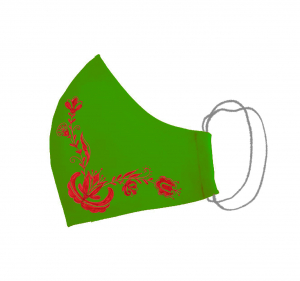 Masca bumbac pictata manual verde [2]