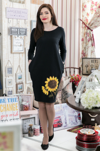 Rochie din bumbac pictata manual Karlyna [2]