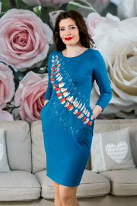 Rochie din bumbac pictata manual Mady [0]