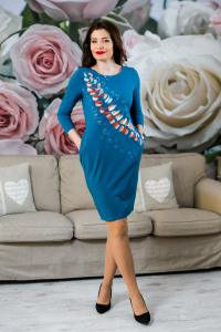 Rochie din bumbac pictata manual Mady [2]