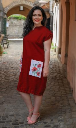 Rochie din in pictata manual Coca [3]