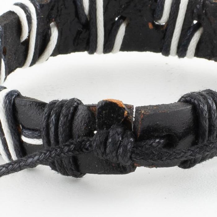 Bratara din piele cu snur - Black [2]