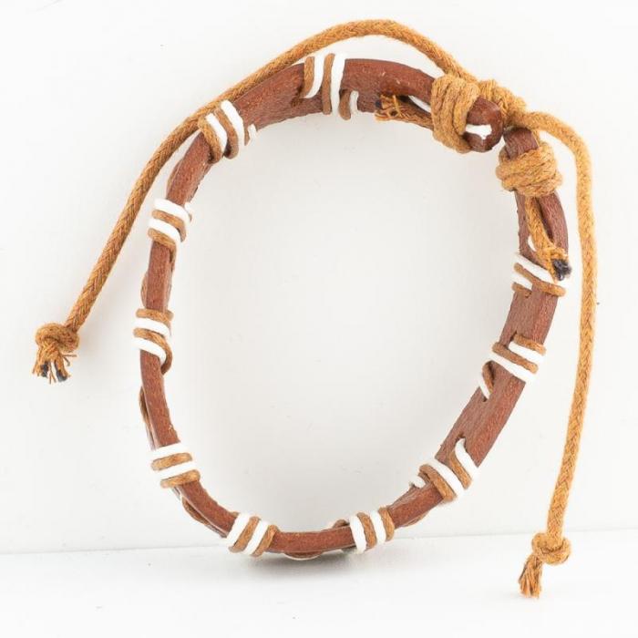 Bratara din piele cu snur - Light Brown 1
