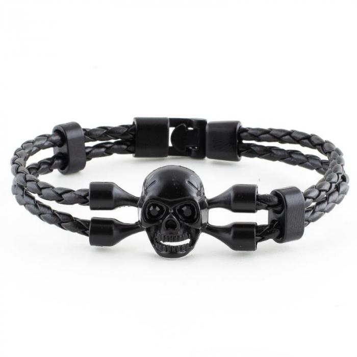 Bratara Metalica Impletita - Black Skull - Mat [0]