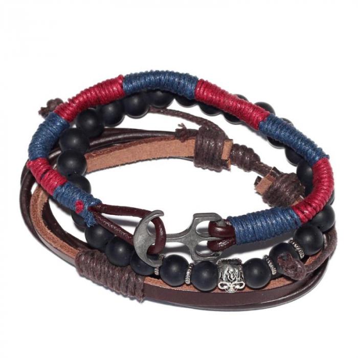 Bratara Navy cu snur albastru rosu - Skull 1